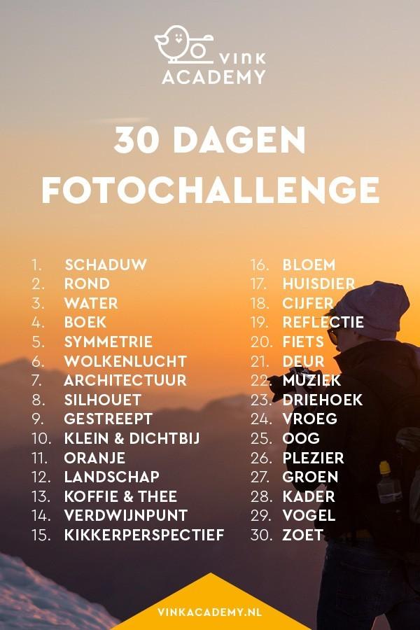 30 verschillende onderwerpen om een maand lang te fotograferen
