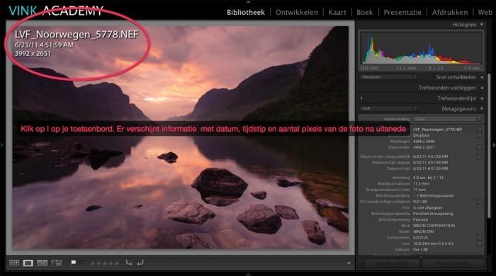 Gebruik de I toets op de EXIF informatie te zien in de ontwikkel module