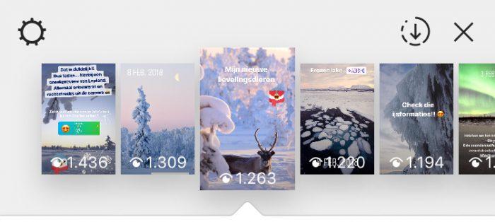 Klik op het icoontje naast het kruisje om alle verhalen als een video op te slaan