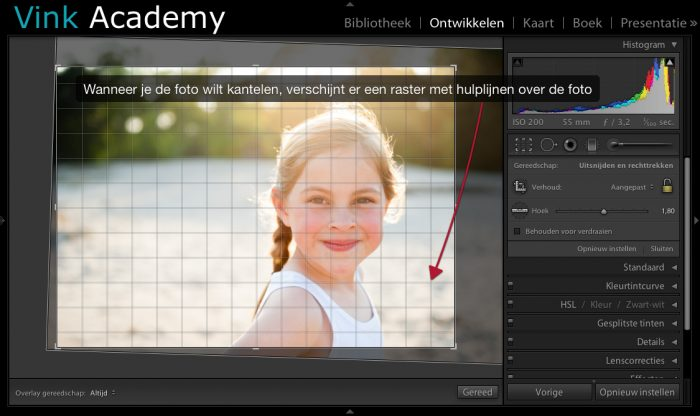 Lightroom: crop kantelen