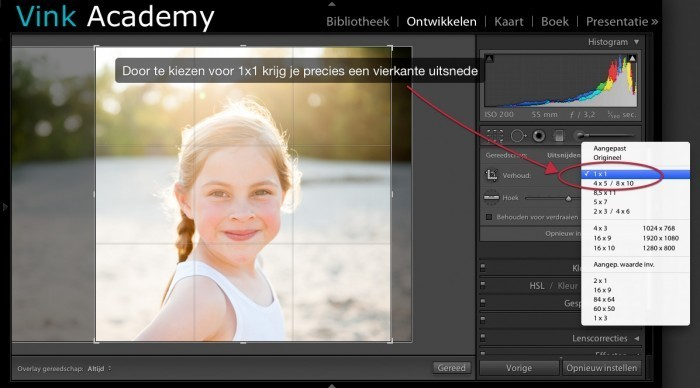 Lightroom: Crop vierkant maken