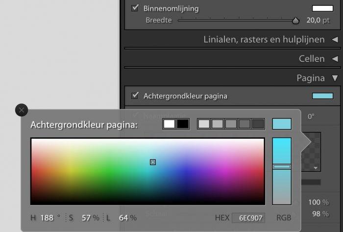 Het veranderen van de achtergrondkleur of de randen is optioneel.