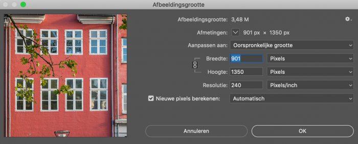 Afbeeldingsgrootte. Vul 1350 in bij de hoogte van de foto. Zorg dat de breedte automatisch meegeschaald wordt.