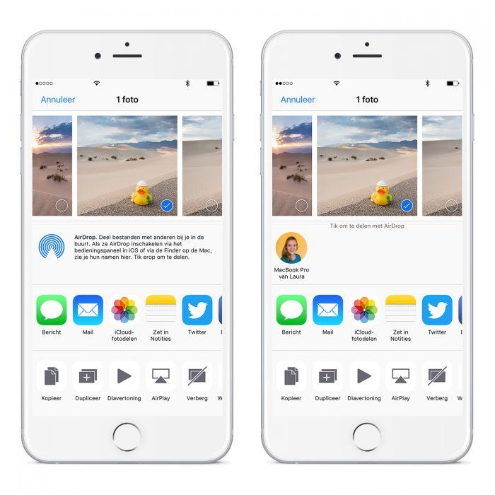 Foto's versturen met AirDrop van Apple