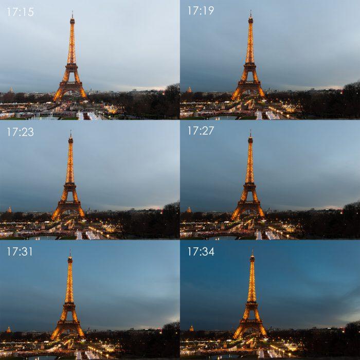 De ontwikkeling van het blauwe uurtje bij de Eiffeltoren in Parijs. Zonsondergang was om 17:01. Een half uur later was het blauwe uurtje goed zichtbaar.