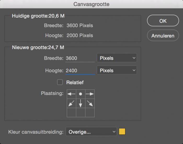 Canvasuitbreiding bij Canvasgrootte in Photoshop