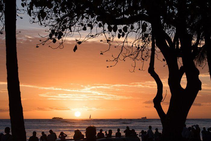 Cliche vakantiefoto's: Zonsondergang