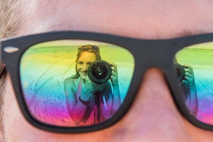 Cliche vakantiefoto's: reflectie in zonnebril