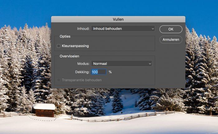 Selectie vullen met Content Aware Fill: Kies voor Inhoud behouden