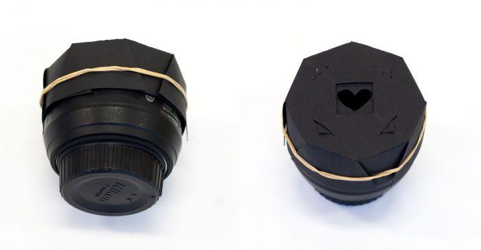 Zij- en bovenaanzicht van de bokeh kit op een 50mm objectief.