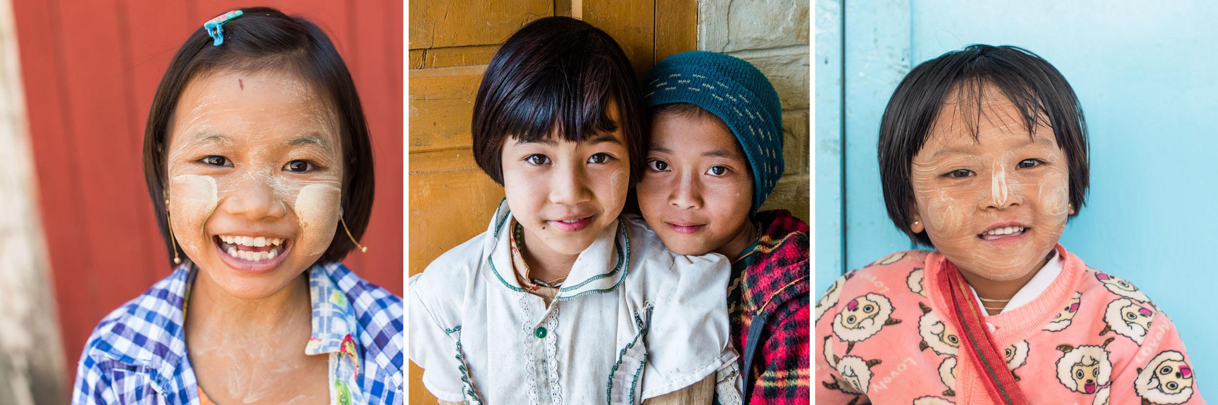 Drieluik van kinderen gefotografeerd in Myanmar: kleur
