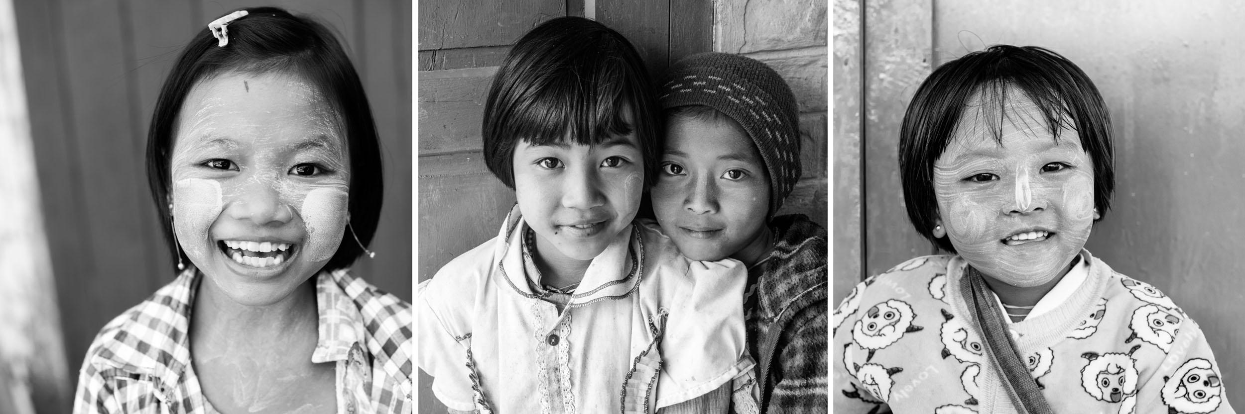 Drieluik van kinderen gefotografeerd in Myanmar