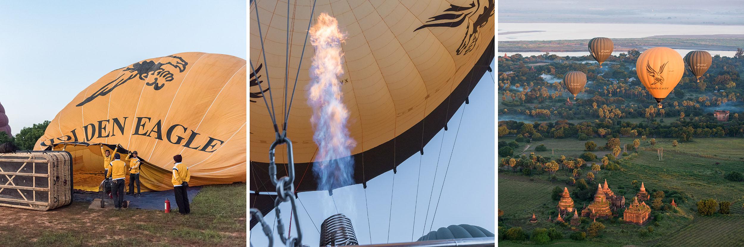 Ballonvaart boven de tempels in Myanmar (drieluik)