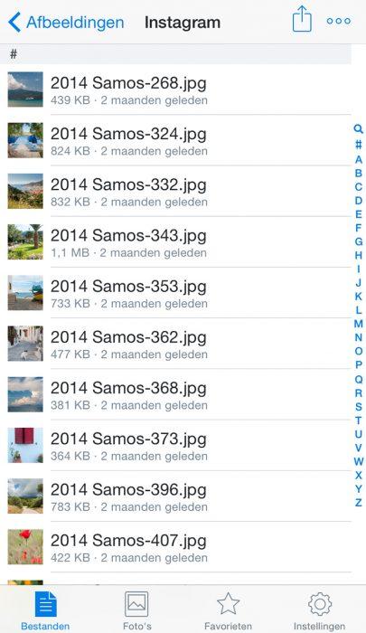 Open in Dropbox de map met foto's die je wilt plaatsen op Instagram