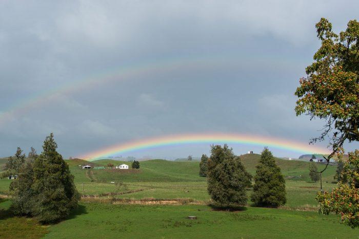 Dubbele regenboog in Nieuw-Zeeland