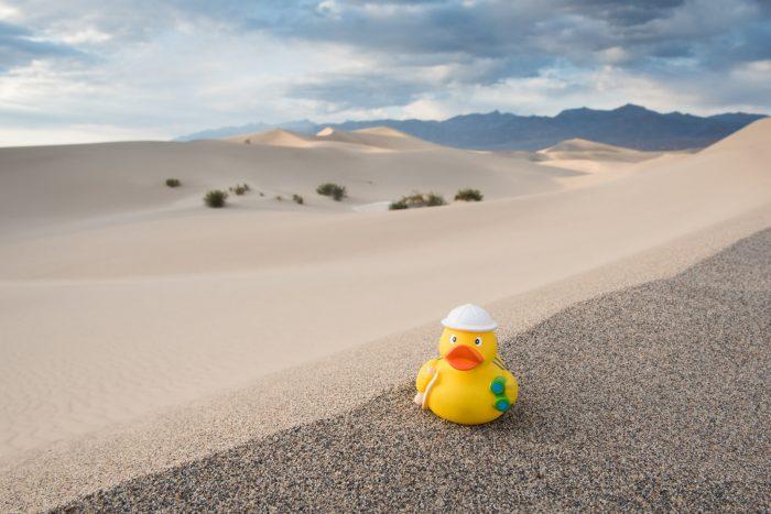 Ducky bij de zandduinen van Death Valley