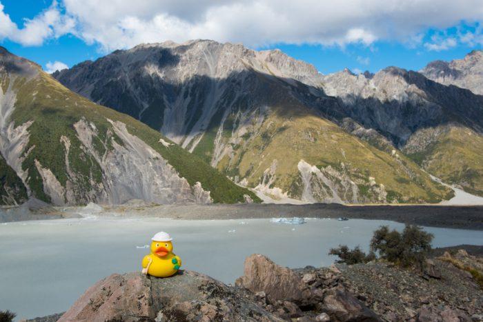 Ducky bij het meer van de Tasman gletsjer. Op de achtergrond zie je ijsbergen!