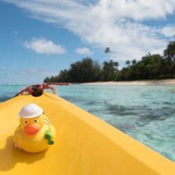 Ducky mee met de kayak bij de Cooks.
