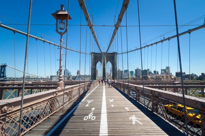 Ik ging fietsend over de Brooklyn Bridge in New York