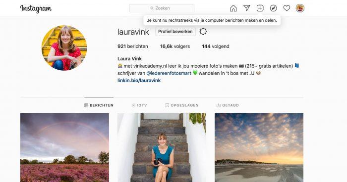 Nieuw sinds september 2021: je kunt nu rechtstreeks foto's en video's uploaden naar Instagram vanuit je browser.