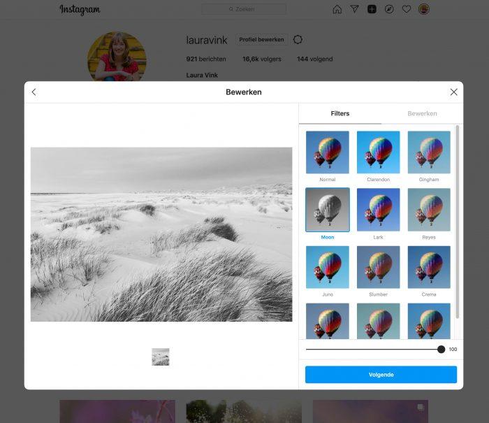 Als je wilt kun je één van de Instagram-filter op je foto toepassen.
