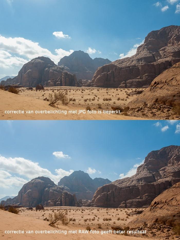 Overbelichting is bij een RAW-foto nog beter te corrigeren dan bij een JPG-foto