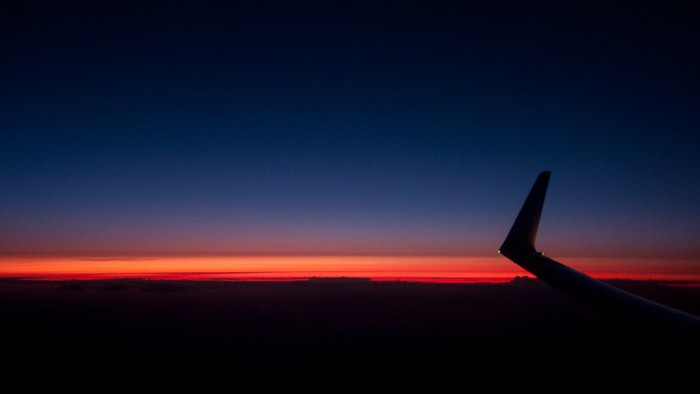 Bijna nacht, de vleugel is een silhouet geworden