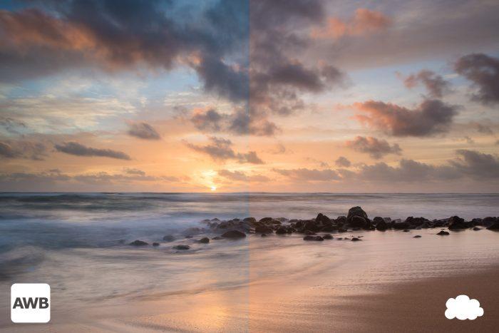 Witbalans bij de zonsondergang