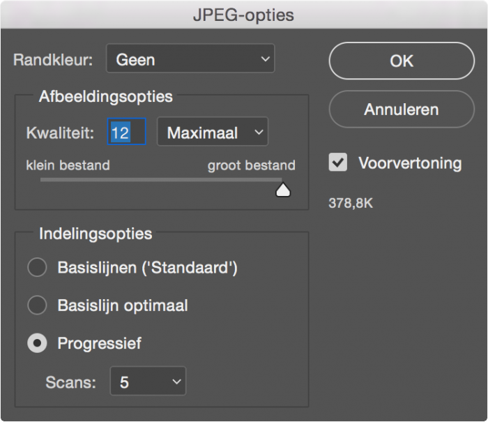Fotokwaliteit opslaan JPG in Photoshop