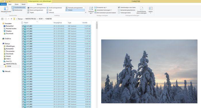 Selecteer alle foto's met CTRL + A