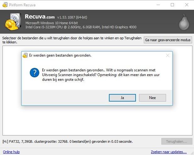 Recuva: uitvoerig scannen om verwijderde foto's te vinden