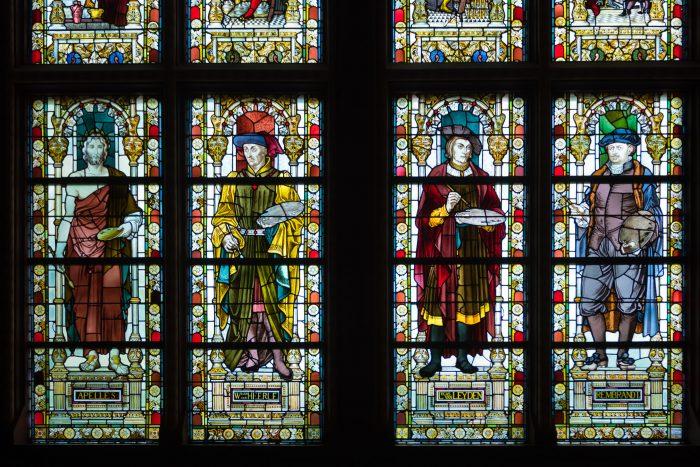 Glas in lood bij het Rijksmuseum in Amsterdam