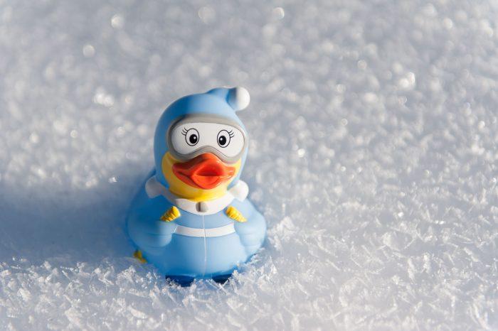 Hier zie je de glinstering van de sneeuw goed. Door te fotograferen met een kleine scherptediepte krijg je kleine bokehbollen in de achtergrond.