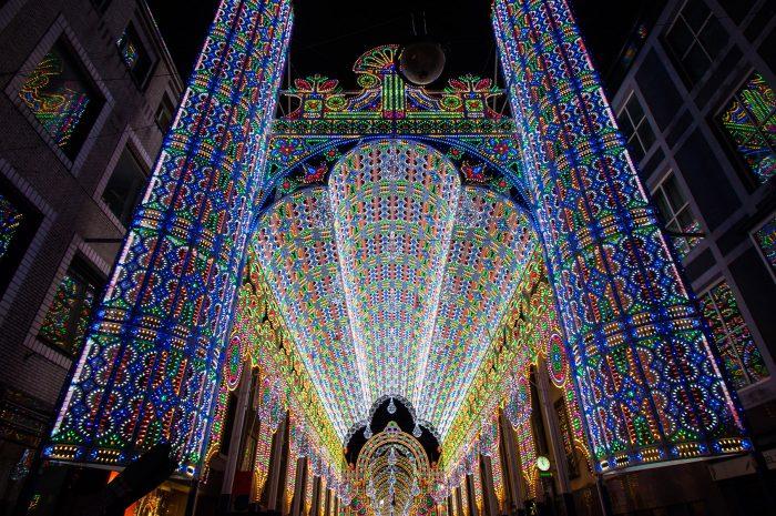 Luminarie De Cagna: een van mijn favoriete GLOW attracties. Deze kathedraal van lichtjes was een straat lang.