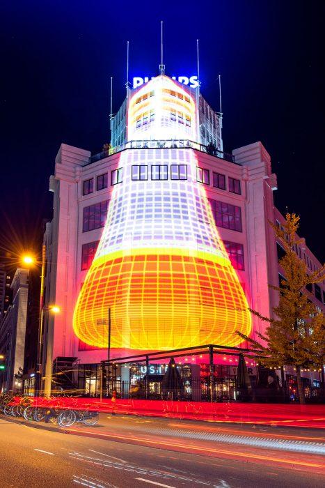Lichttoren van Philips in Eindhoven tijdens GLOW 2018