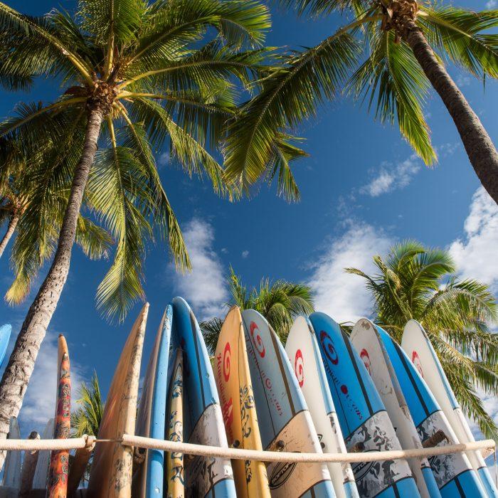 Surfen op Waikiki Beach, Oahu