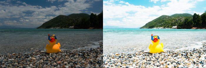 Links is de foto aangepast in Photoshop met een helderheid naar -100 (de foto werd donkerder), rechts is de helderheid op +100 gezet (de foto werd lichter)