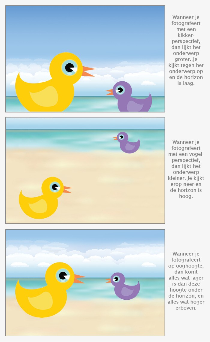 Illustratie kikkerperspectief, vogelperspectief en fotograferen op ooghoogte