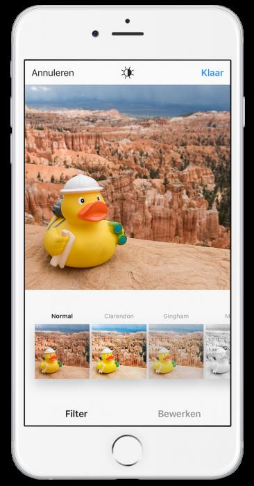 Klik je eerst een foto aan, dan kun je een filter/bewerking kiezen die alleen op die foto toegepast wordt.