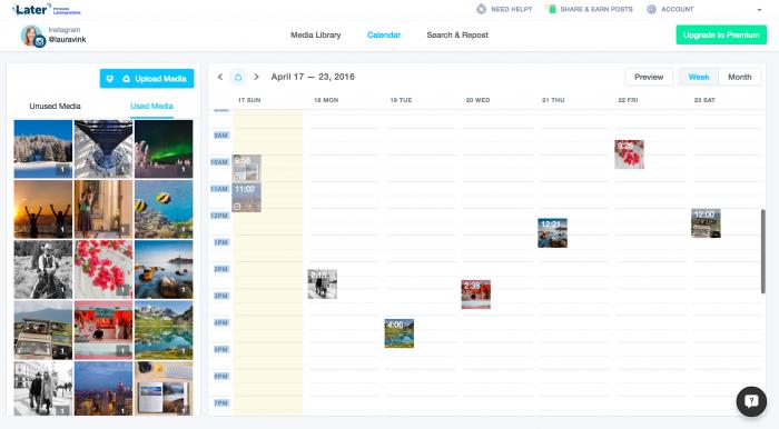 Sleep de foto's bij media (links) naar de kalender (rechts) om foto's in te plannen.