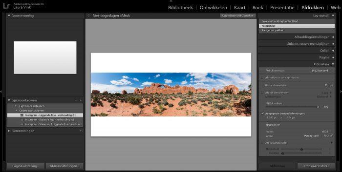 Dit template is vooral handig als je panoramafoto's wilt plaatsen, maar zo min mogelijk witruimte boven en onder de foto wilt.