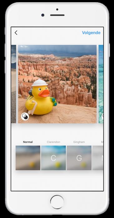 Kies je nu een bewerkingsfilter onderin beeld, dan wordt die automatisch toegevoegd op alle beelden.
