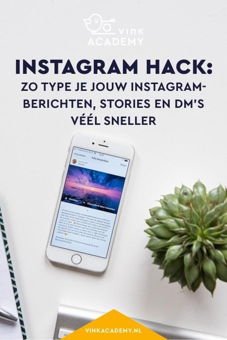 Stories en DM's sneller typen voor Instagram via de computer