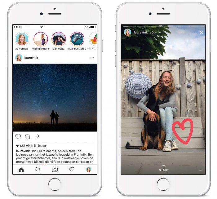 Links: hier zie je wie er recent een verhaal geupload heeft. Rechts: Met de balk bovenin zie je hoeveel stories een gebruiker heeft. Alleen jijzelf ziet het aantal views onderin staan.