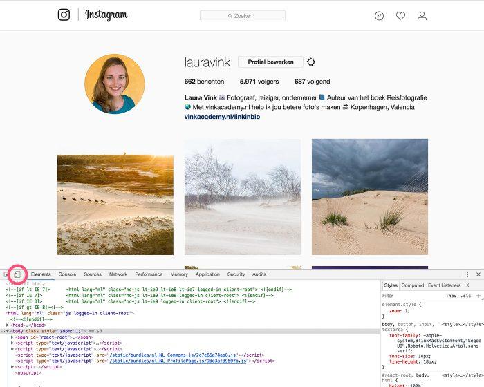 Het scherm verandert als je het hulpprogramma voor ontwikkelaars aangezet hebt. Klik nu op het icoontje met de tablet/smartphone.