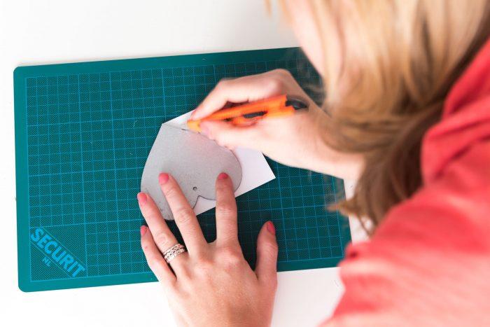 Uitsnijden van de foto met een mesje