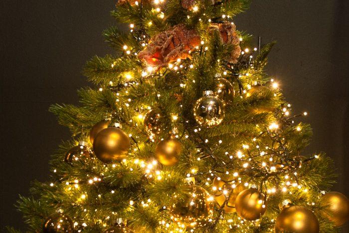Bij het diafragma f/5 zijn de kerstlichtjes voornamelijk kleine rondjes.