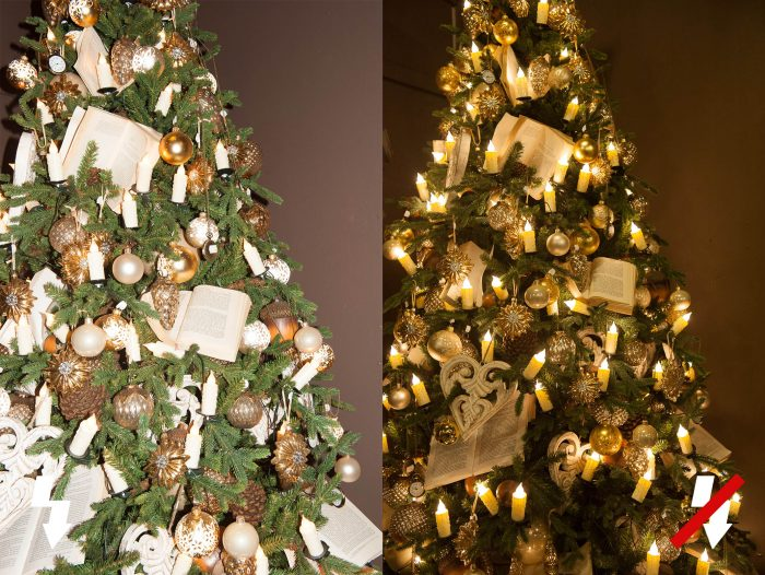 Het flitslicht van de popupflitser haalt de sfeer uit de kerstfoto.