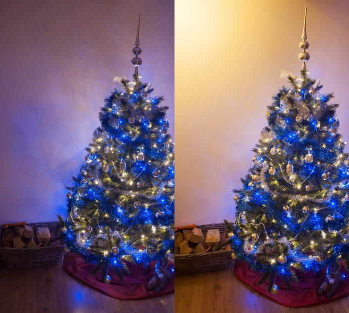 Soms is de ruimte waar de kerstboom staat te donker met alleen de kerstverlichting aan. Kijk wat er verandert als je een lamp in de kamer aandoet, of wat het verschil is als je op een ander tijdstip fotografeert.