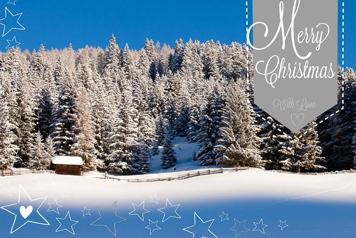 Kerstkaart maken met winterslandschap